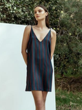 Belinda Sporty Stripe Satin Dress. Lined navy slip dress with red stripes. Blush and Lace, oakville, boutique, slip dress, satin, sexy.