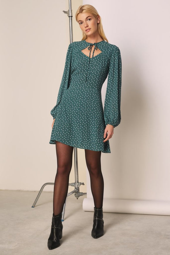 Amore Ls dress forest green with white hearts by The Fifth Label Australia. Front tie, dress, hearts, trendy, long sleeve, balloon sleeve, forest green, fashionable, blush and lace, boutique, Oakville, Ontario.