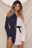 BOYFRIEND SHIRT DRESS-WHITE/NAVY STRIPE