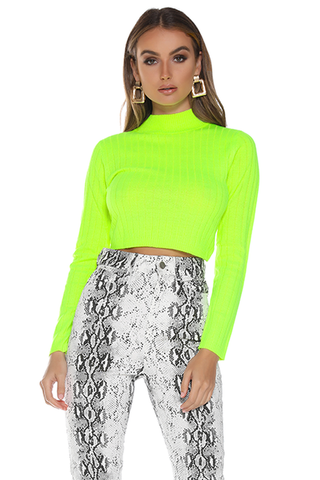 Trippin sweater- Neon Green by Runaway Australia. Neon sweater, ribbed, high neck, long sleeves, cropped, stretch, Blush and Lace, boutique, Oakville, women's fashion, upscale, high quality fashion, Toronto.
