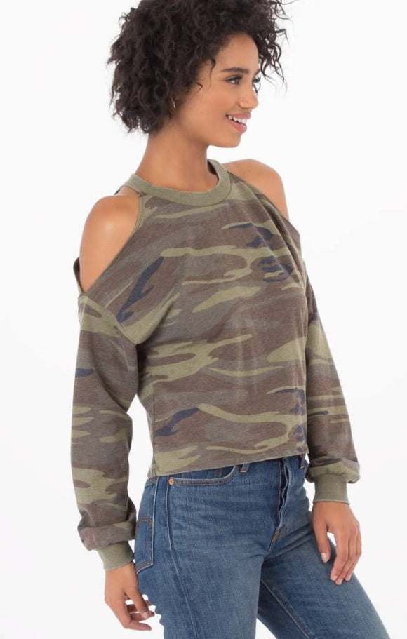 CAMO CROPPED COLD SHOULDER