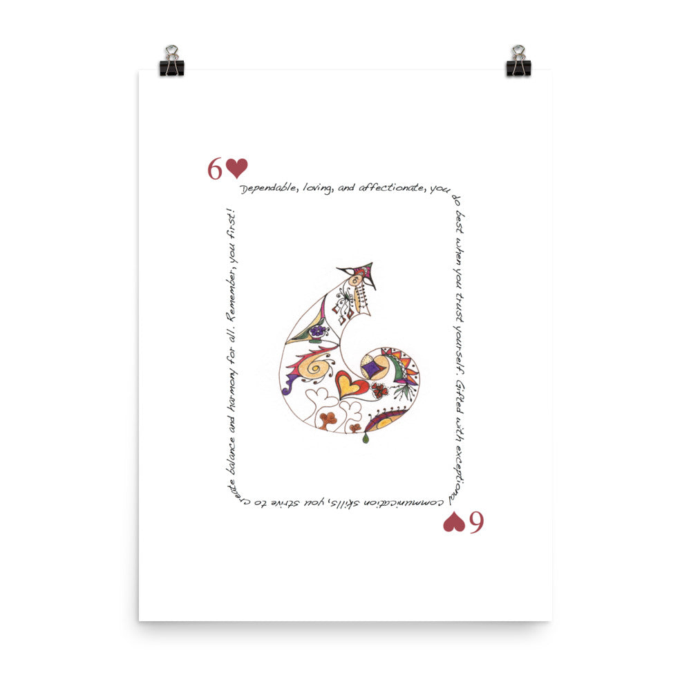 6 of Hearts Poster