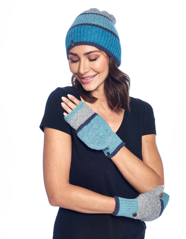 Alpaca Mittens - Color Block - Aqua