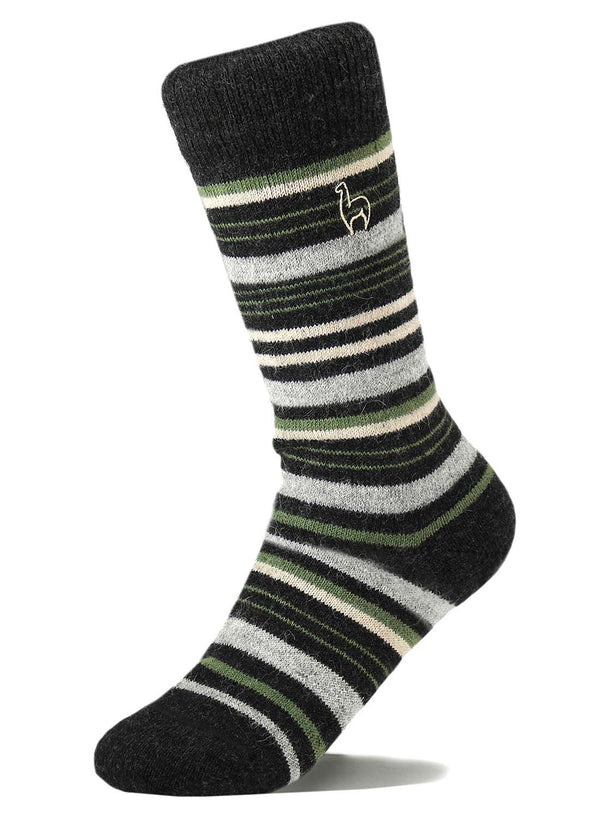 Alpaca Socks - Stripe - Moss