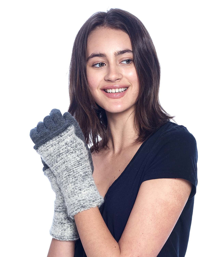 Alpaca Full Gloves - Caraveli - Stone