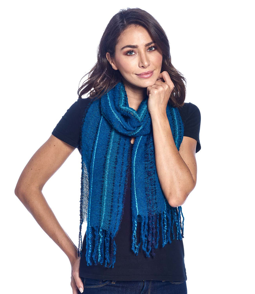 Alpaca Fringe Scarf Boucle Deep Sea by Supaca