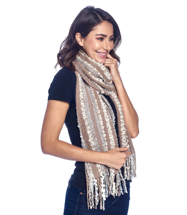 Alpaca Scarf - Boucle Fringe - Mineral