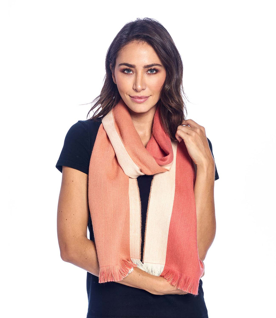 Alpaca Reversible Scarf Peach Bloom by Shupaca