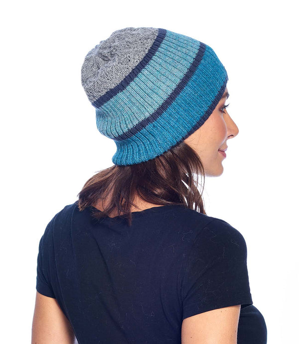 Alpaca Beanie - Color Block - Aqua