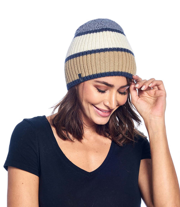 Alpaca Beanie - Color Block - Gold
