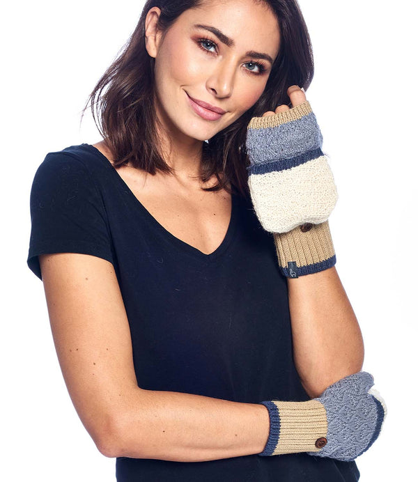 Alpaca Mittens - Color Block - Gold