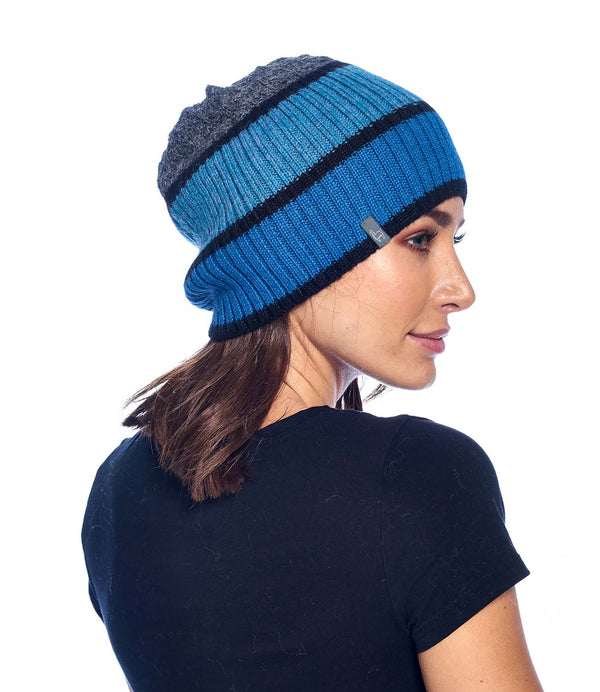 Alpaca Beanie - Color Block - Azul