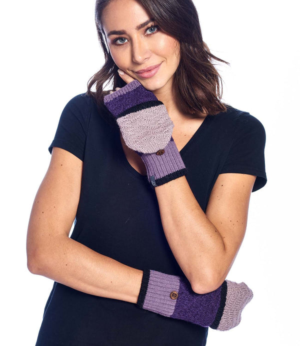 Alpaca Mittens - Color Block - Berry