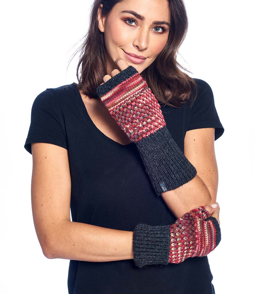 Alpaca Gloves - Speckle - Ruby