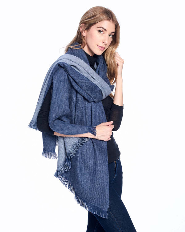 Alpaca Reversible Wrap Royal by Shupaca