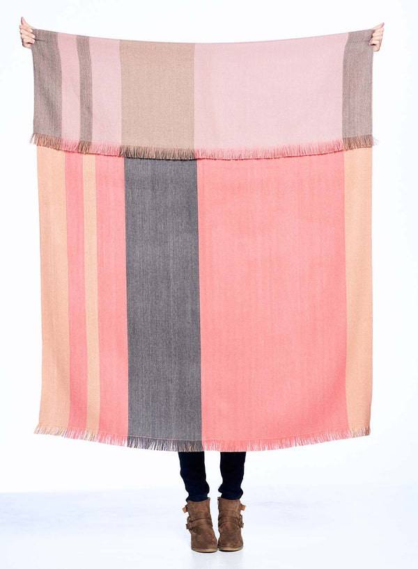 Peach Bloom Reversible Alpaca Throw Blanket by Shupaca