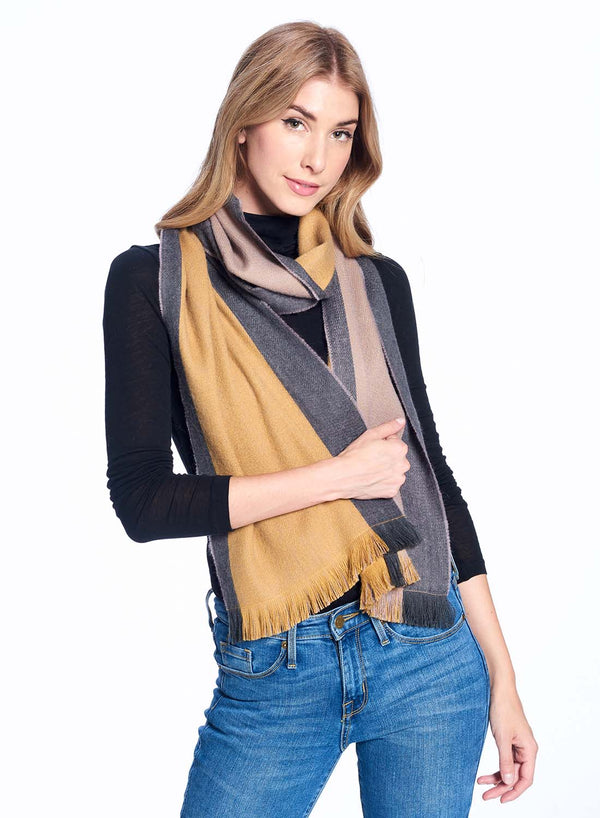 Alpaca Reversible Scarf - Tawny Olive