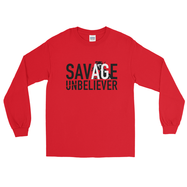Mens Savage Believer Long Sleeve T-Shirt - Psalm 23:4