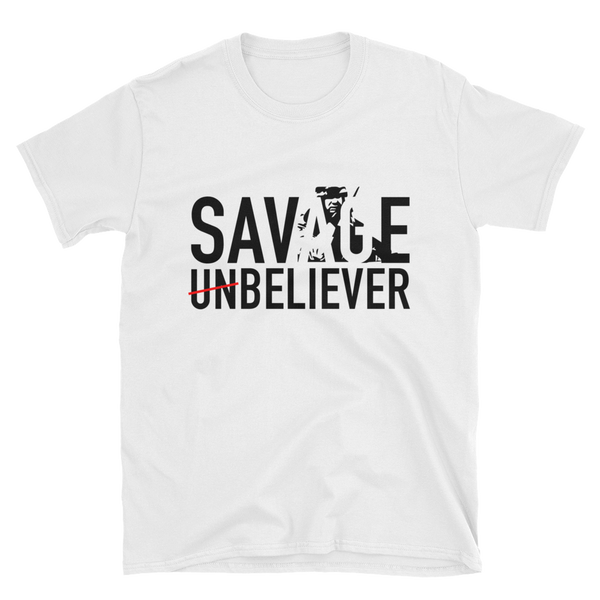 Men's Savage Believer White T-Shirt with Scripture - Psalm 23:4