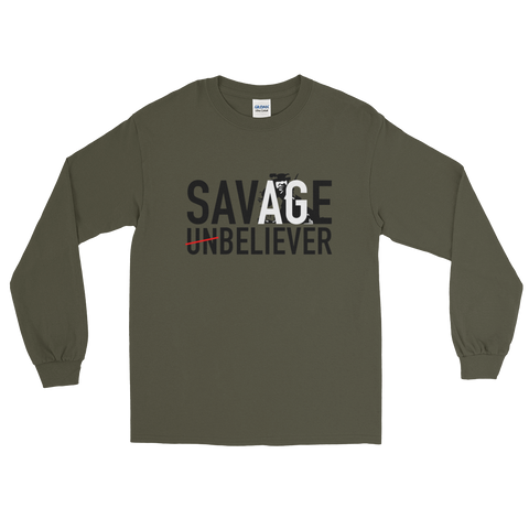 Men's Savage Believer Long Sleeve T-Shirt - Psalm 23:4