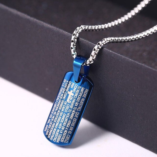 Men's Dog Tag Prayer Necklace