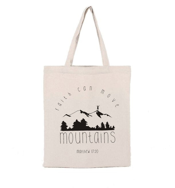 Faith Can Move Mountains Canvas Tote Bag