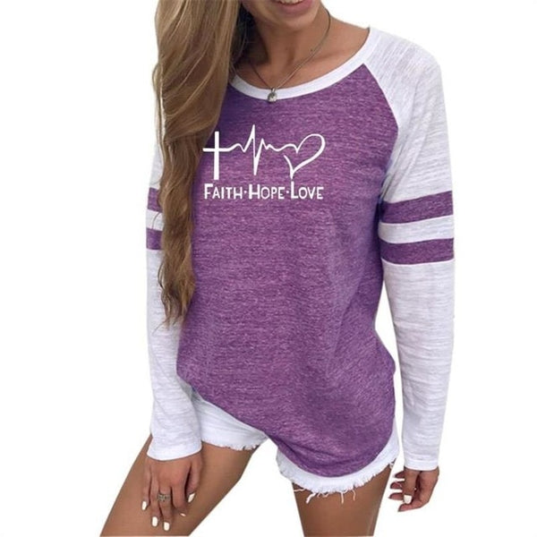 Ladies Athletic Long Sleeve Faith Hope Love Graphic T-Shirt
