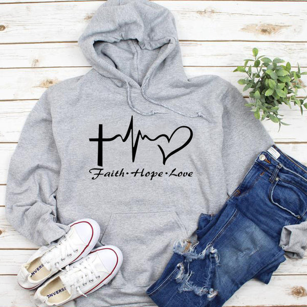 Ladies Faith Hope Love Graphic Hoodie