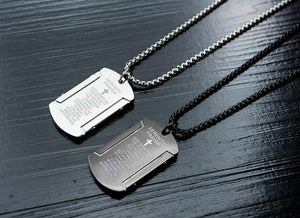 Titanium Dog Tag Serenity Prayer on Stainless Steel Chain