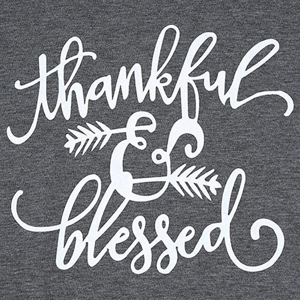 Ladies Thankful & Blessed Long Sleeve Graphic T-shirt