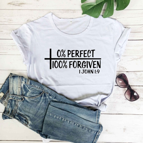 Imperfect but Forgiven Scripture Ladies T-Shirt
