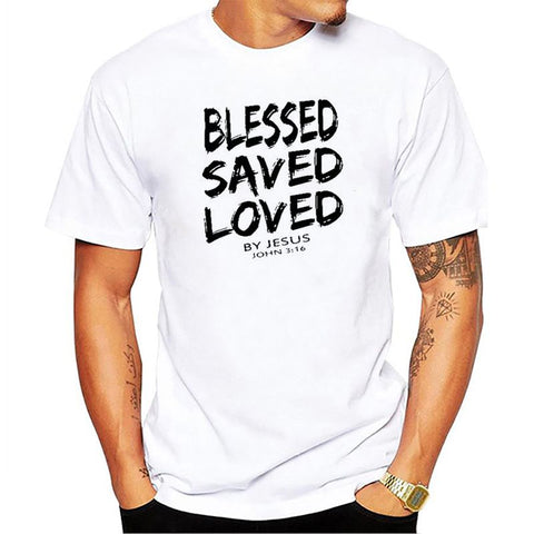 BLESSED SAVED LOVED John 3:16 Bible Quote Comfy Cotton Men's Tee