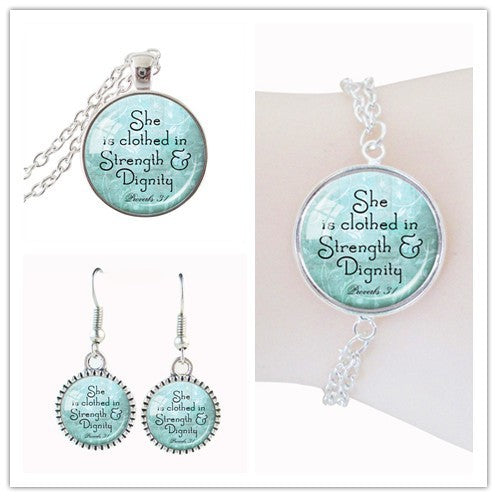 Ladies' Proverbs 31 Scripture Jewelry Set - Aqua