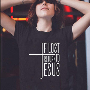 If Lost, Return to Jesus Cross Tee for Women