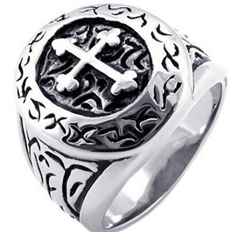 Retro Vintage Style Men's Cross Ring
