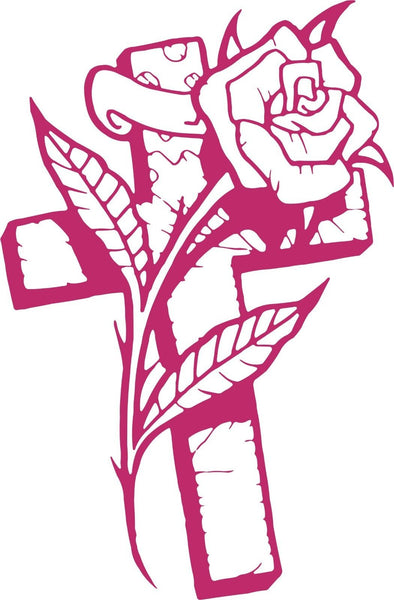 Rose and Cross Vinyl Decal