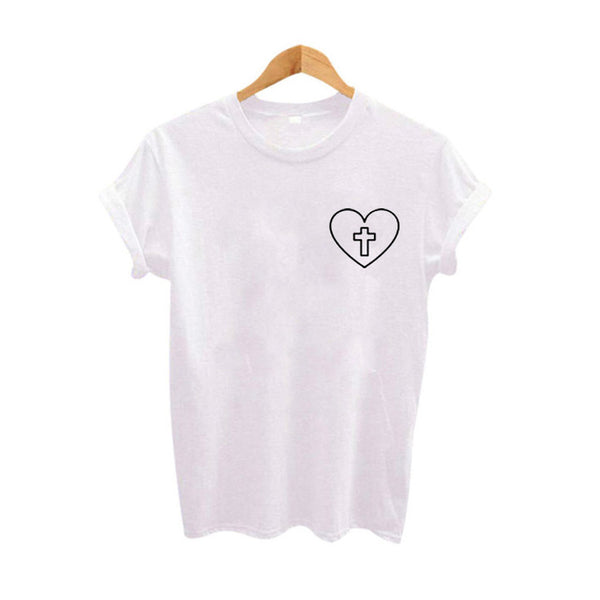 Ladies' Short Sleeve Close Fit Heart/Cross Tee