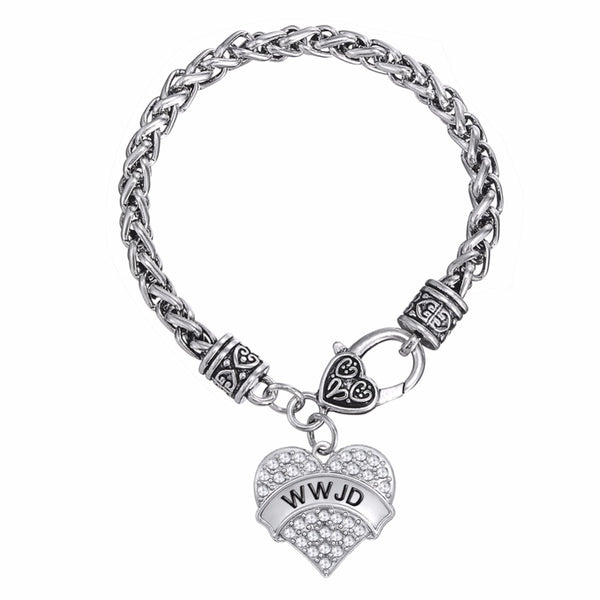 What Would Jesus Do Heart Charm Bracelet (WWJD)