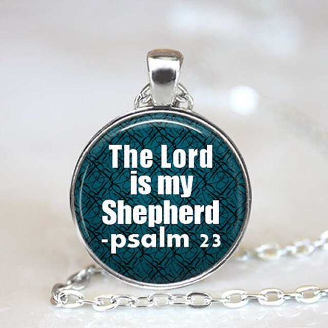 The Lord Is My Shepherd Psalm 23 Bible Verse Necklace