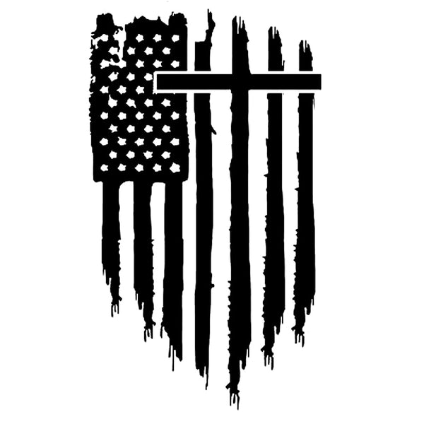 Cross American Flag Bumper Sticker