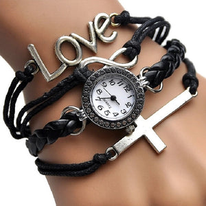 Christian Vintage-Style Cross Bracelet Watch for Women