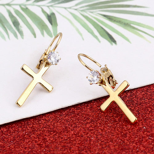 Cross Earrings with Lever Back