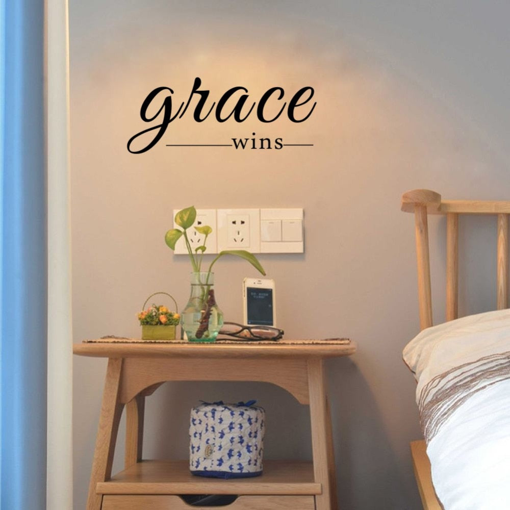 Grace Wins Inspirational Wall Decal