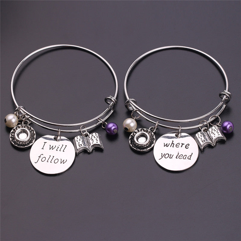 Gilmore Girls Inspired Hand Stamped Bangle Charm Bracelet Set with Engraving