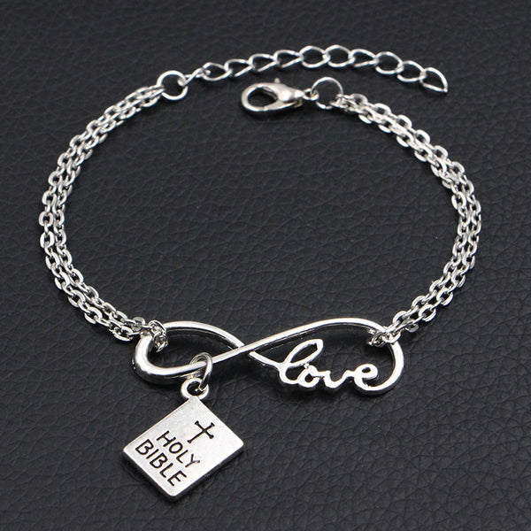 Bible Antique Style Silver Handmade Infinity Love Charm Bracelet