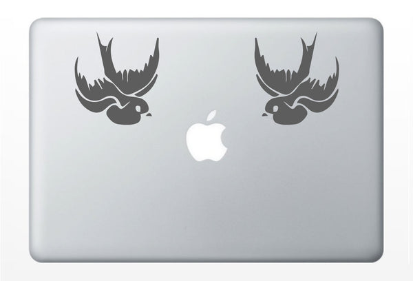 Two Swallows decal- sailor sea tattoo nautical- macbook iPad computer- vinyl sticker
