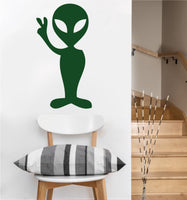 Peace Alien Decal | Vinyl Wall Sticker