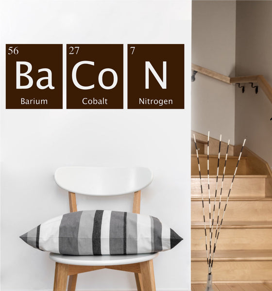 Bacon Periodic Table Decal | Vinyl Wall Sticker