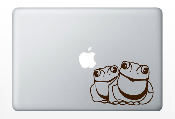 Two frogs DECAL- macbook PC iPad computer- vinyl sticker - animal tropical