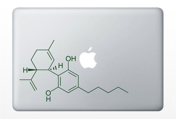 Cannabis Compound Molecule laptop DECALS- macbook iPad computer- Cannabidiol CBD chemical structure- vinyl sticker